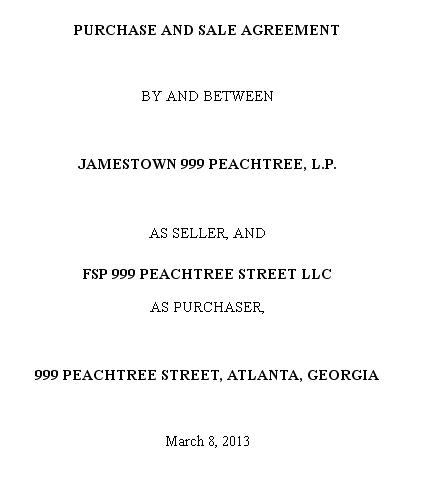 Jamestown Agrees To Sell 999 Peachtree In Atlanta To Franklin St